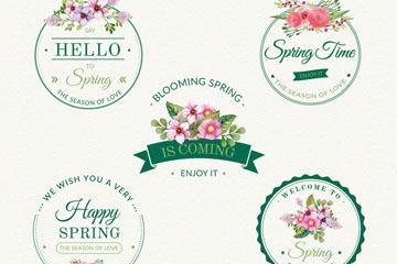 5款创意春季花卉徽章矢量素材