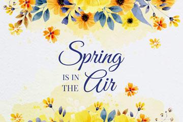 水彩绘春季黄色花卉矢量素材