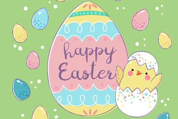 可爱复活节彩蛋和鸡仔矢量图