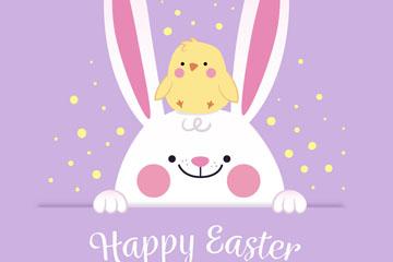 可爱兔子和小鸡复活节矢量素材