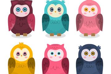 6款彩色大眼睛猫头鹰矢量素材