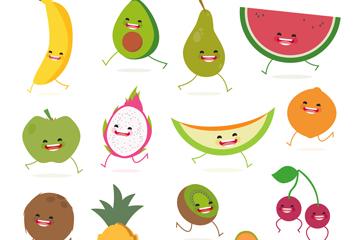 16款卡通奔跑水果矢量素材