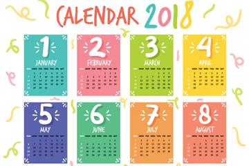 彩色块2018年年历矢量素材