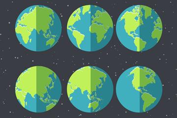 6款扁平化地球矢量素材