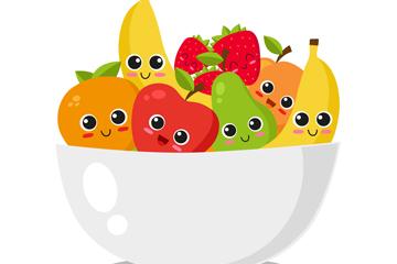卡通装在碗里的可爱水果矢量图