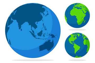 3款创意蓝色地球矢量素材