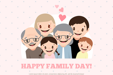 卡通幸福家族6个人物矢量素材