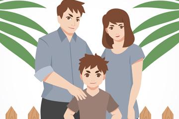 卡通幸福三口之家矢量素材