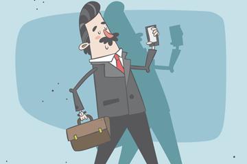 创意步行上班的商务男子矢量图