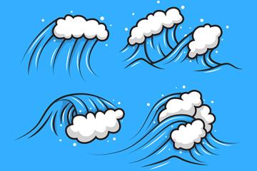 4款手绘动感海浪矢量素材