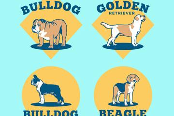 4款彩绘宠物狗标签矢量素材