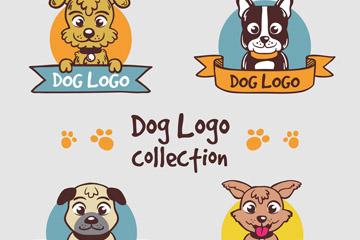 4款可爱宠物狗头像标志矢量素材