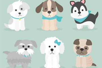 6款可爱宠物狗设计矢量素材