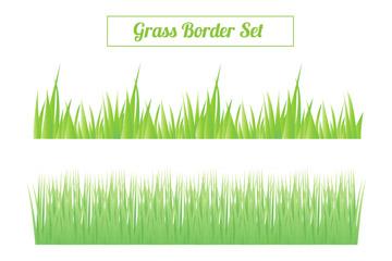 3款茂盛绿色草丛矢量素材