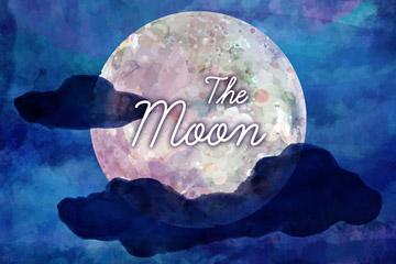 水彩绘云中的月亮矢量素材