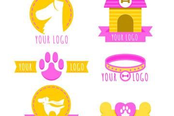 6款彩色宠物狗元素标志矢量图