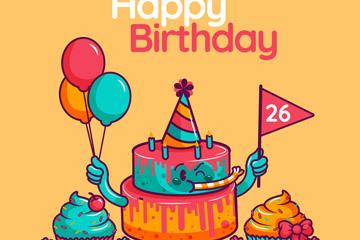 创意卡通生日派对蛋糕矢量w88优德