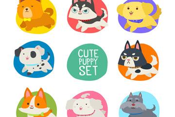 8款可爱奔跑宠物设计矢量图