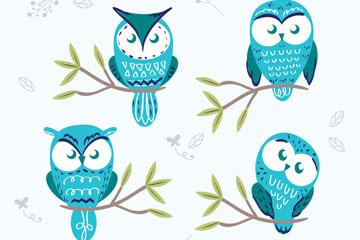 4款彩绘树枝上的蓝色猫头鹰矢量图