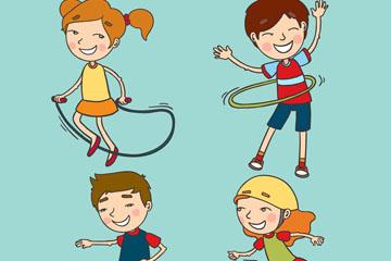 4款彩绘玩耍的快乐儿童矢量图