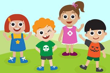 创意草地上的4个笑脸儿童矢量图
