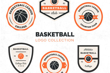 6款创意篮球俱乐部标志矢量素材