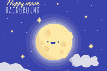 彩绘可爱笑脸月亮矢量素材