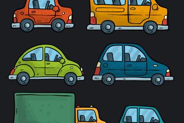 6款手绘彩色车辆侧面矢量素材