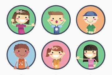 9款可爱圆形儿童头像矢量素材
