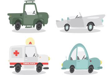 4款卡通车辆设计矢量素材