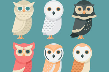 6款可爱猫头鹰设计矢量素材