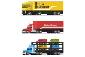 4款彩色运输车设计矢量素材