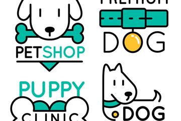 4款可爱宠物狗标志矢量图