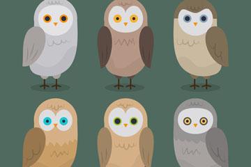 6款手绘森林猫头鹰矢量素材