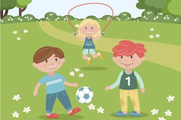 郊外草地上玩耍的3个儿童矢量图