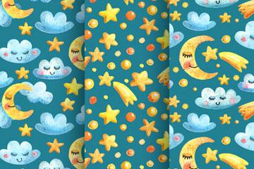 3款卡通月亮和星星无缝背景矢量图