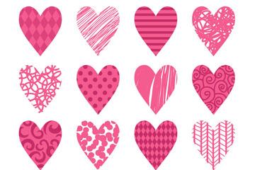16款粉色花纹爱心矢量素材