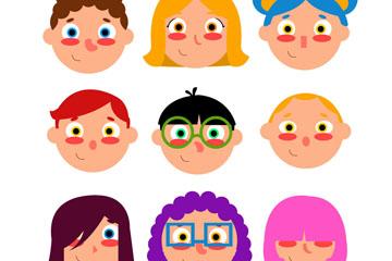 9款可爱红脸蛋儿童头像矢量素材
