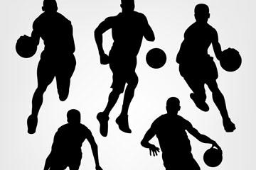 5款动感篮球人物剪影矢量图