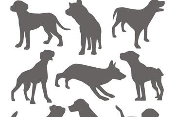 9款创意宠物狗剪影矢量素材
