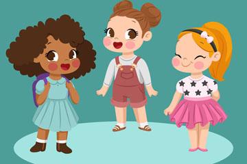3个可爱卡通女孩矢量素材