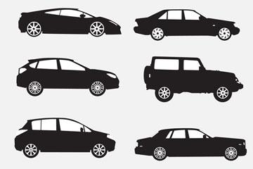 6款创意车辆剪影矢量素材