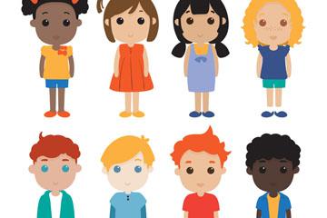 8款可爱站姿儿童矢量素材
