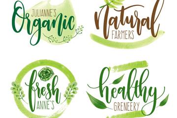 4款水彩绘有机健康艺术字矢量图