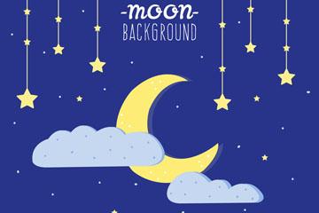 卡通夜晚星星和月亮矢量素材