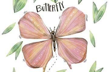 彩绘粉色蝴蝶和树叶矢量素材