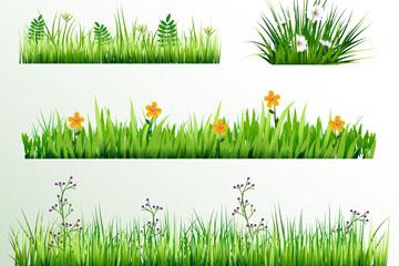 4款创意花丛设计矢量素材
