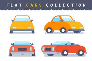 3种扁平化车辆的正面和侧面矢量素材