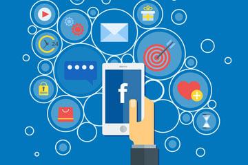 创意拿手机使用脸书的手臂矢量素材