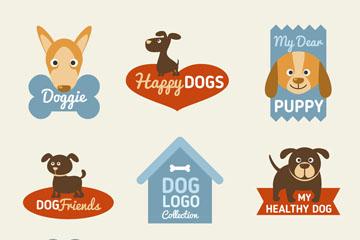 8款可爱狗标志矢量梦之城娱乐